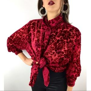 90's vintage sheer red crushed velvet button down